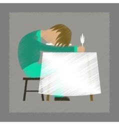 Flat shading style icon man sleeping at desk vector