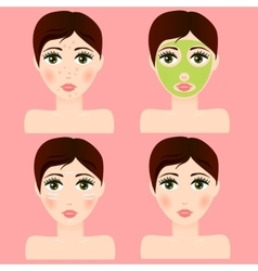girl portrait with facial skin mask vector image