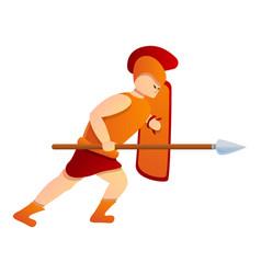 Gladiator attack icon cartoon style vector