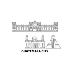 Guatemala guatemala city line travel skyline set vector