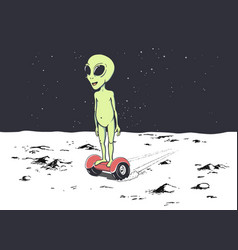 Happy alien rides on gyro scooter vector