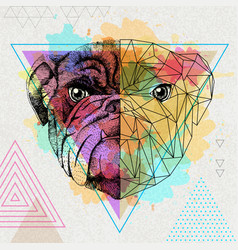 Hipster animal realistic and polygonal bulldog on vector