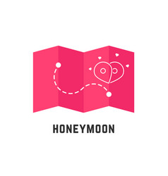 Honeymoon icon with pink map pin vector