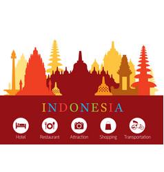 Indonesia landmarks skyline with accommodation vector