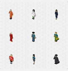 Isometric human set of guy female businesswoman vector