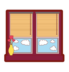 Line color window with blind curtain and fower vector