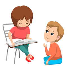 Little girl reading to boy elementary school vector