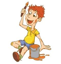 Little Kid Boy Carrying an Art vector image