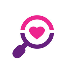 magnify glass and heart shape love symbol vector image