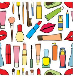 Makeup items patch badges vector