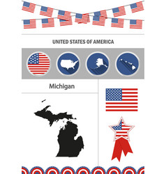 Map of michigan set of flat design icons vector