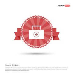 medical kit icon - red ribbon banner vector image