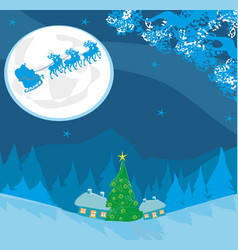 merry christmas card with santa and winter vector image