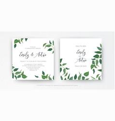 Modern minimalist style leafy wedding invitation vector