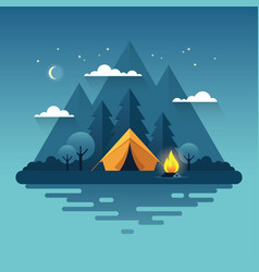 night camping in flat style vector image
