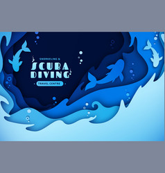 Paper art scuba diving snorkeling marine life vector