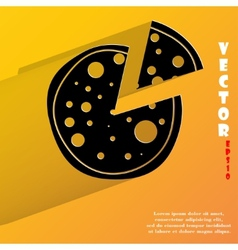 Pizza Flat modern web button with long shadow and vector image