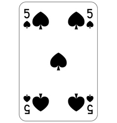 Poker playing card 5 spade vector