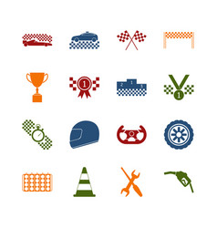 racing sport color icons set vector image
