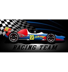 Racing team open wheel race car under a spotlight vector