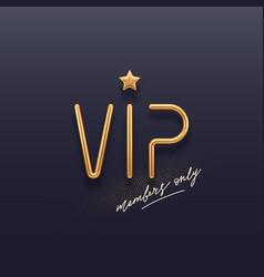 Realistic golden metal vip sign vector
