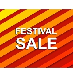 Red striped sale poster with FESTIVAL SALE text vector image