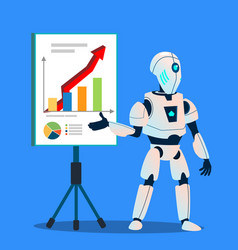 robot preparing analytic and financial graphics vector image