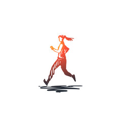 run girl sport fitness exercise concept hand vector image
