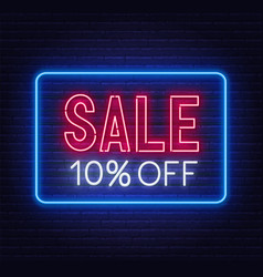sale 10 percent off neon sign on brick wall vector image