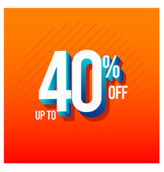 Sale discount up to 40 off set template design vector