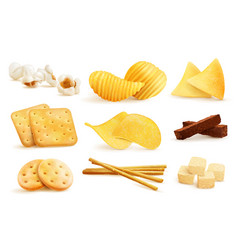 salty snack pieces set vector image
