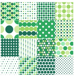 seamless green polka dots background vector image