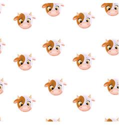 Seamless pattern from cute cartoon cow head vector