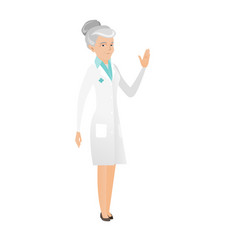 Senior caucasian doctor waving her hand vector