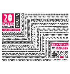 set 20 pattern brushes vector image