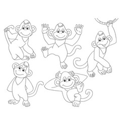 set cute cartoon monkeys vector image