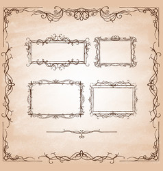 set hand-drawn ornamental frames vintage card vector image