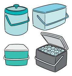 Set ice bucket vector