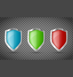 set metal shields isolated on transparent vector image