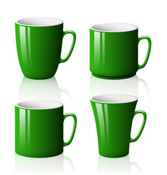 set of green cups isolated on white background vector image