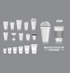 set realistic cup containers vector image