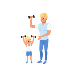 smiling father and his son exercising vector image