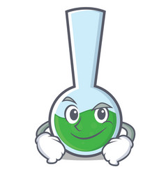 Smirking tube laboratory character cartoon vector