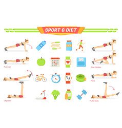 Sport and diet exercises poster vector