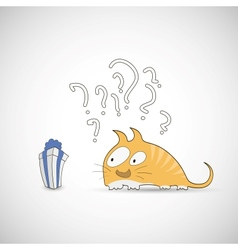 Surprised cat with gift and question vector image