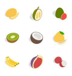 tropical fruits icons isometric 3d style vector image