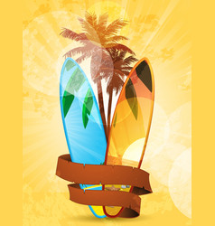 tropical surfboard vector image