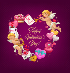 valentine day love heart with gifts greeting card vector image