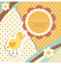 Vintage baby chicken vector image