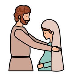 Virgin mary pregnancy and saint joseph vector